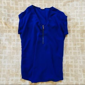 Charlotte Russe, blue zipper blouse